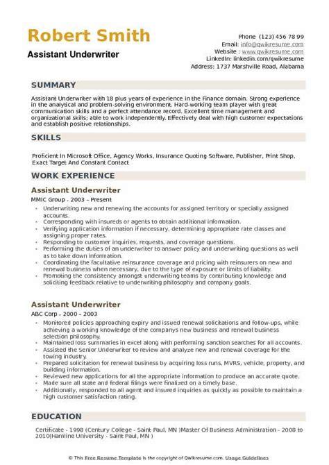 Underwriter Resume by Assistant Underwriter Resume Sles Qwikresume