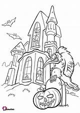 Coloring Pages Pumpkin Haunted Scary Halloween Bubakids Print sketch template