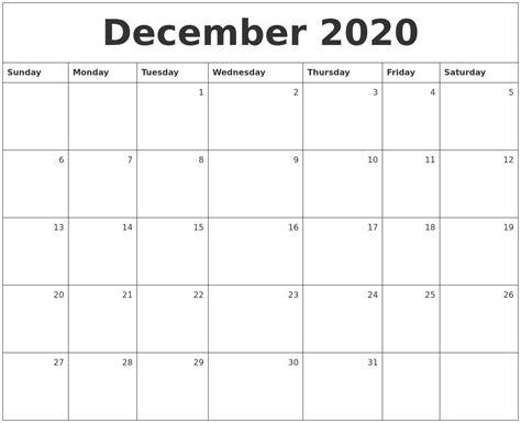 december monthly calendar