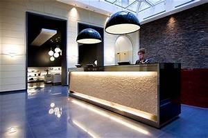 Dramatic lighting in the lobby of Hotel Palazzo Zichy