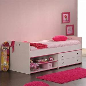 Lit Fille Avec Rangement : lit enfant avec tiroirs 90x200cm cameo rose ou bleu ~ Melissatoandfro.com Idées de Décoration