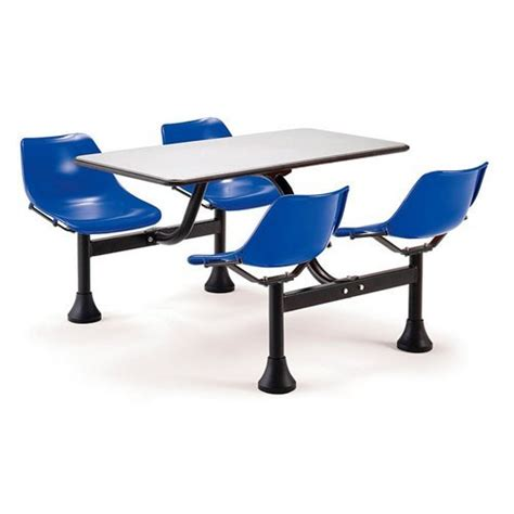 ofm cluster table with 4 attached swivel chairs and