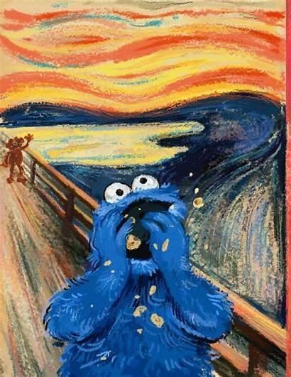 Munch Edvard Scream Parody Squidward Cartoon Happy