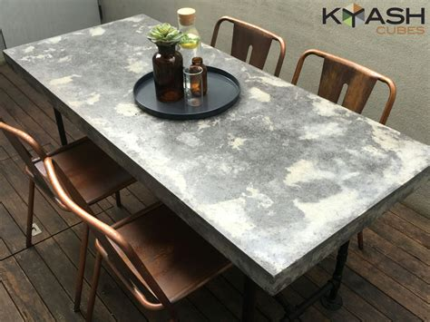 polished concrete dining table patio outdoor industrial look