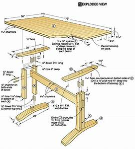 mission style trestle dining table plans woodideas