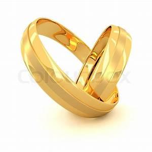 Zwei goldene Hochzeit Ringe isoliert auf weißem ...