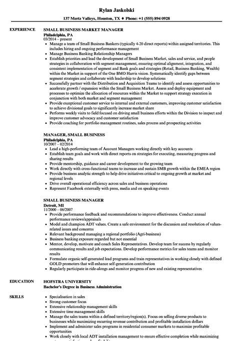 Business Manager Resume by Small Business Manager Resume Sles Velvet