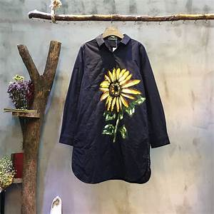 High Quality Sunflower Printing Long Shirt Quilted Custom