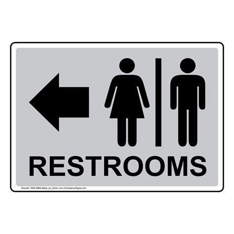 restrooms black  silver sign rre  blkonslvr restrooms