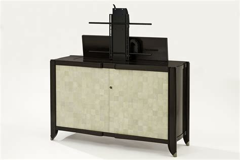 tv lift cabinet design shagreen palmwood tv lift cabinet atelier viollet