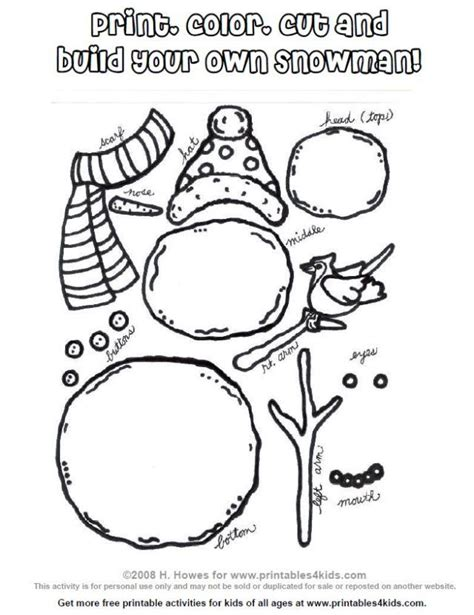 printable build  snowman activity printables  kids