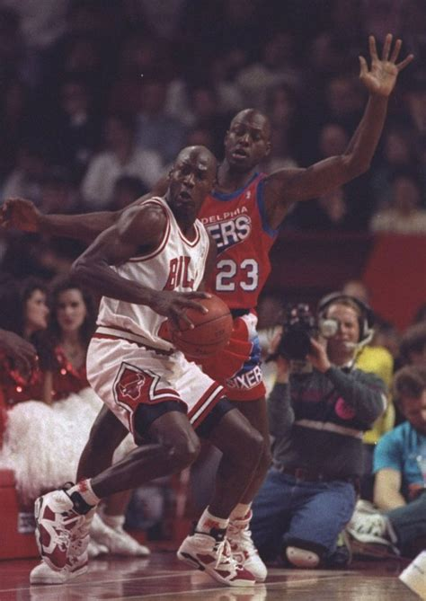 flashback michael jordan wearing  carmine air jordan