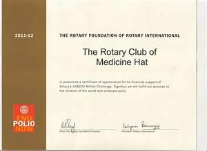 medicine hat certificate of appreciation from ri With rotary certificate of appreciation template