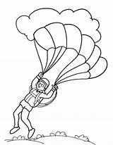 Coloring Paratrooper Parachute Pages Landing Template Popular Coloringhome sketch template