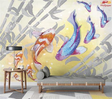 วอลเปเปอร์พิมพ์ลงบนผ้า รูปสั่งพิมพ์ฮวงจุ้ย ลายภาพวาดปลาครา ...