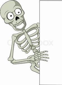 Vector Illustration Of Cartoon Skeleton Holding Blank Sign