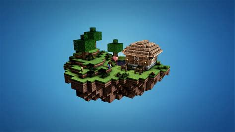 minecraft video games house floating island simple background wallpapers hd desktop