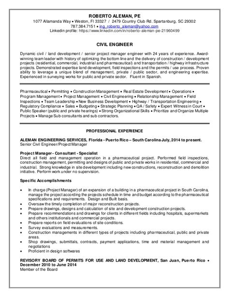 resume roberto aleman project manager civil engineer