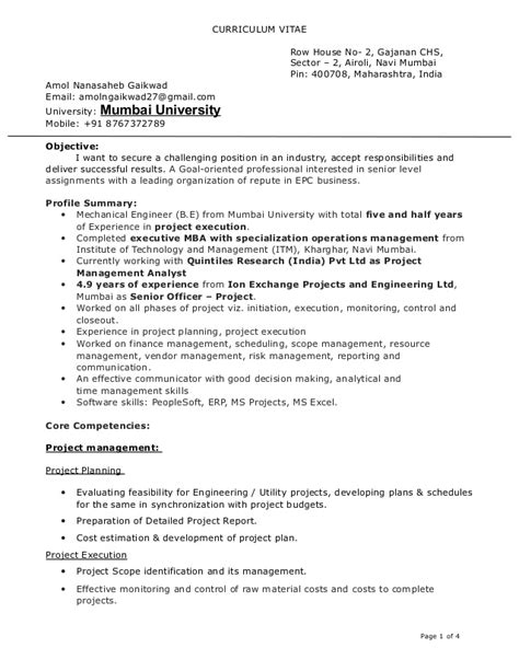 resume project management analyst