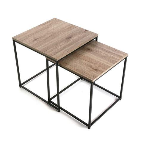 deux tables basses carrees gigognes metal noir bois versa meno 15810522