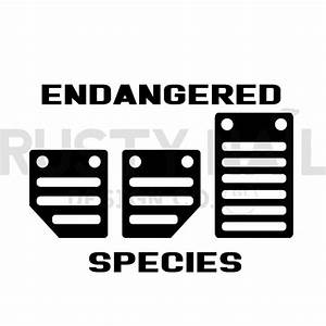 3-pedals Endangered Species Gear Shift Decal
