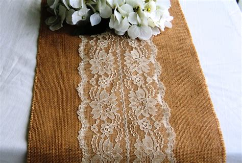 burlap table runner with lace burlap and lace table runner 12 width ivory by