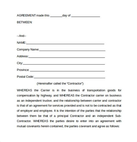 trucking agreement template lease agreement trucking owner