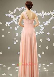 Blush Pink One Shoulder Bridesmaid Dress,Long Pale Pink ...