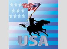Man riding mustang horse carrying the american flag Vector