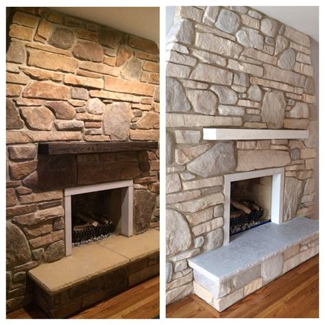 white wash fireplace white washed stone fireplace using annie sloan chalk paint for our home pinterest stone