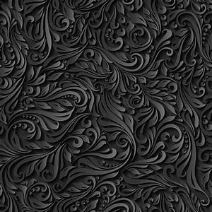 Black paper floral seamless pattern vector - Vector ...