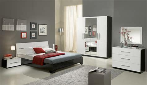 chambre avec meuble blanc chevet 1 tiroir gloria noir et blanc blanc noir