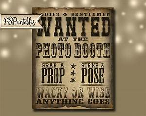 WANTED PHOTO BOOTH Sign Western Theme - Vintage Style Sign