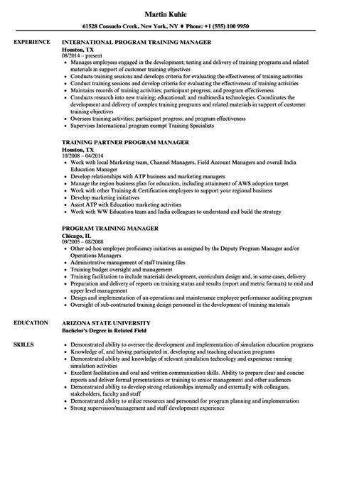 Resume Programs by Program Manager Resume Sles Velvet