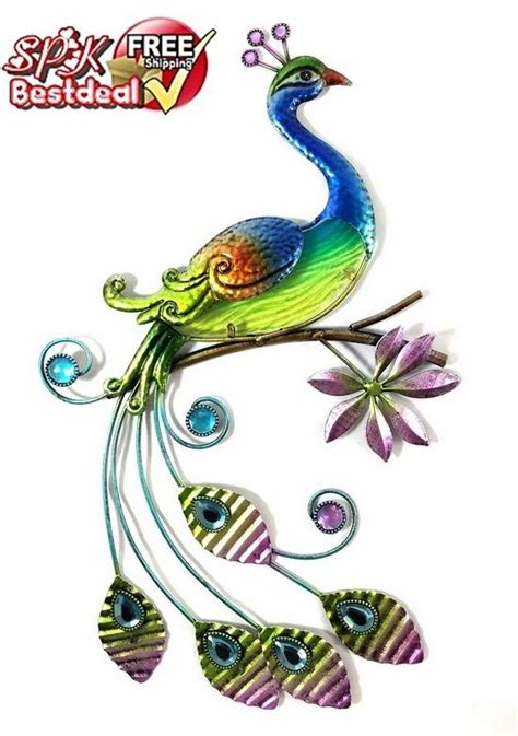 painted peacock glass wall office decor pretty bird regal hang gift ebay
