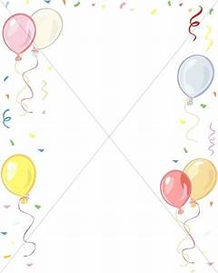 Balloons and Confetti Border | Church Birthday Clipart