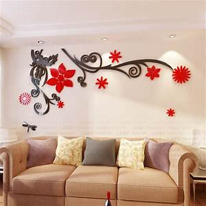 D stereo flower vine acrylic crystal wall stickers home