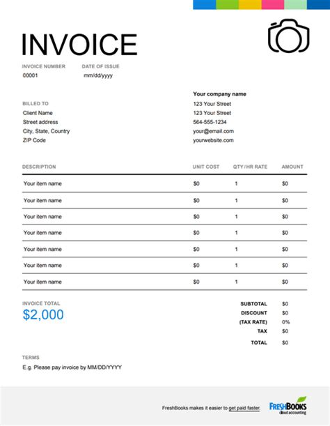photography invoice template   send  minutes