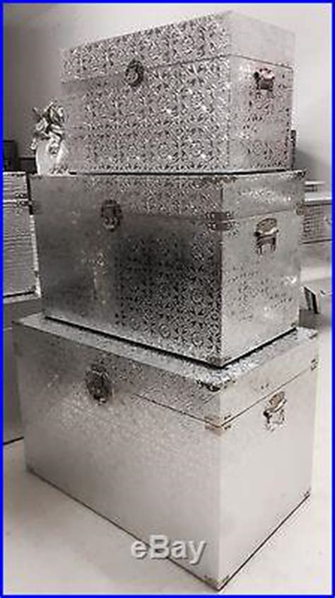 Large Bedroom Trunk by Set Of 3 Xlarge Silver Metal Embossed Storage Trunks