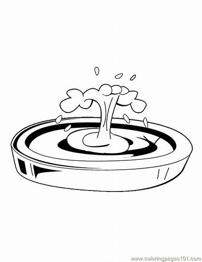 Fountain Water Coloring Pages Clipart Printable Cliparts