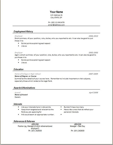 personal resuem templates modern 1 page resume