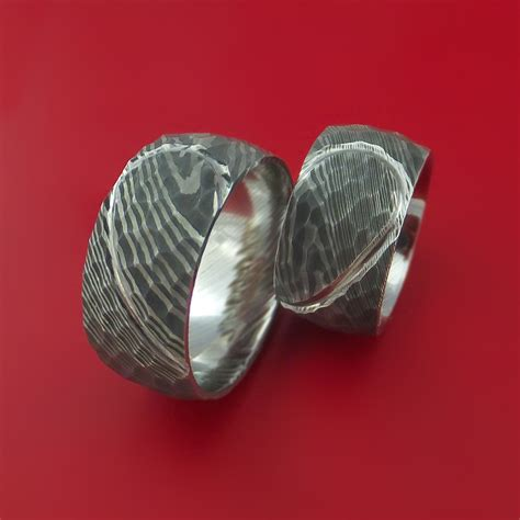 matching hammered damascus steel heart carved ring set