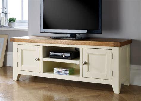 country oak cream painted large double door tv unit