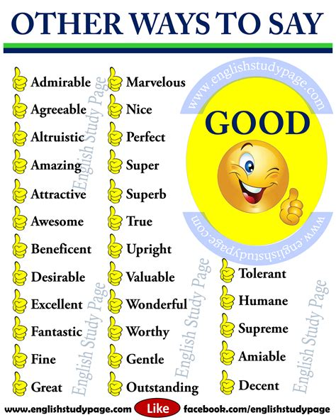 Ways To Say Good  Synonym Words In English  English Study Page