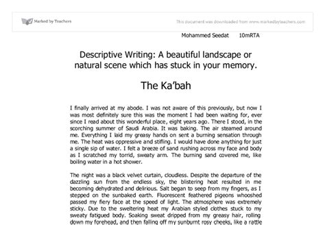 Descriptive Writing A Beautiful Landscape Or Natural Scene Which Has Stuck In Your Memory The