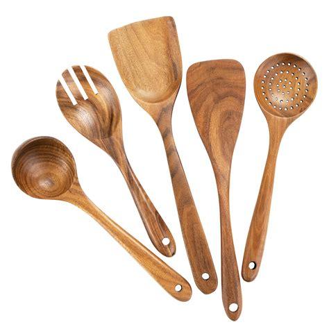 wooden kitchen cooking utensils spoons wood tools teak nonstick cookware utensil spoon shopee organic spatula gadgets 5pcs fl walmart kitchenware