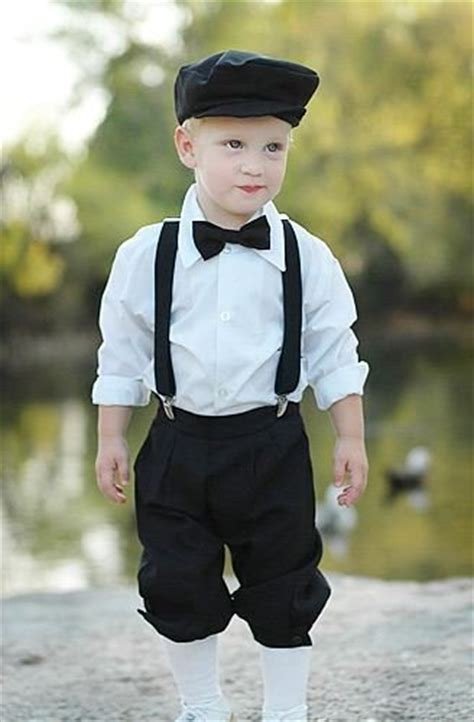 Infant u0026 Toddler Boys Vintage Style Black Knickers Outfit 5-piece set with Suspenders Bowtie ...
