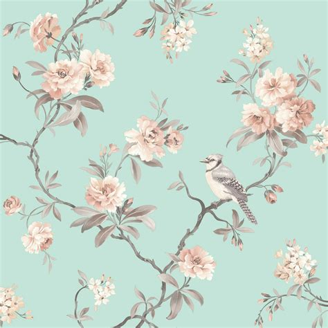 decor chic floral chinoiserie bird wallpaper in grey teal pink duck egg ebay