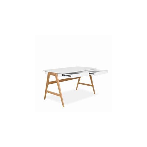 bureau 120cm bureau laqué chêne blanc 120x70cm skoll look scandinave