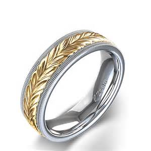 mens braided wedding bands milgrain edged braided s wedding ring in two tone gold